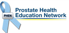 prostate health education network logo. it has a white background with a blue ribbon on the right. the letters phen are in the center of the ribbon. the words prostate health education network are to the right of the ribbon and are in a blue font.