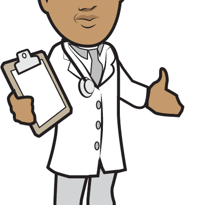 a cartoon of an African American doctor in a white coat carrying a chart.